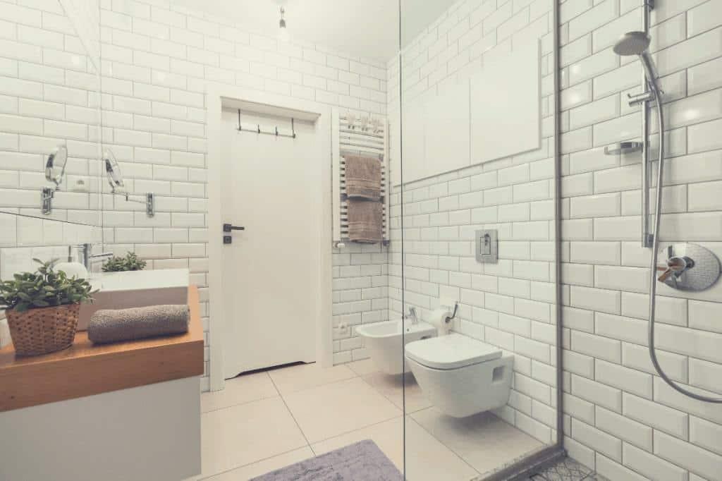 Bathroom with Handheld Shower Head with Slide Bar
