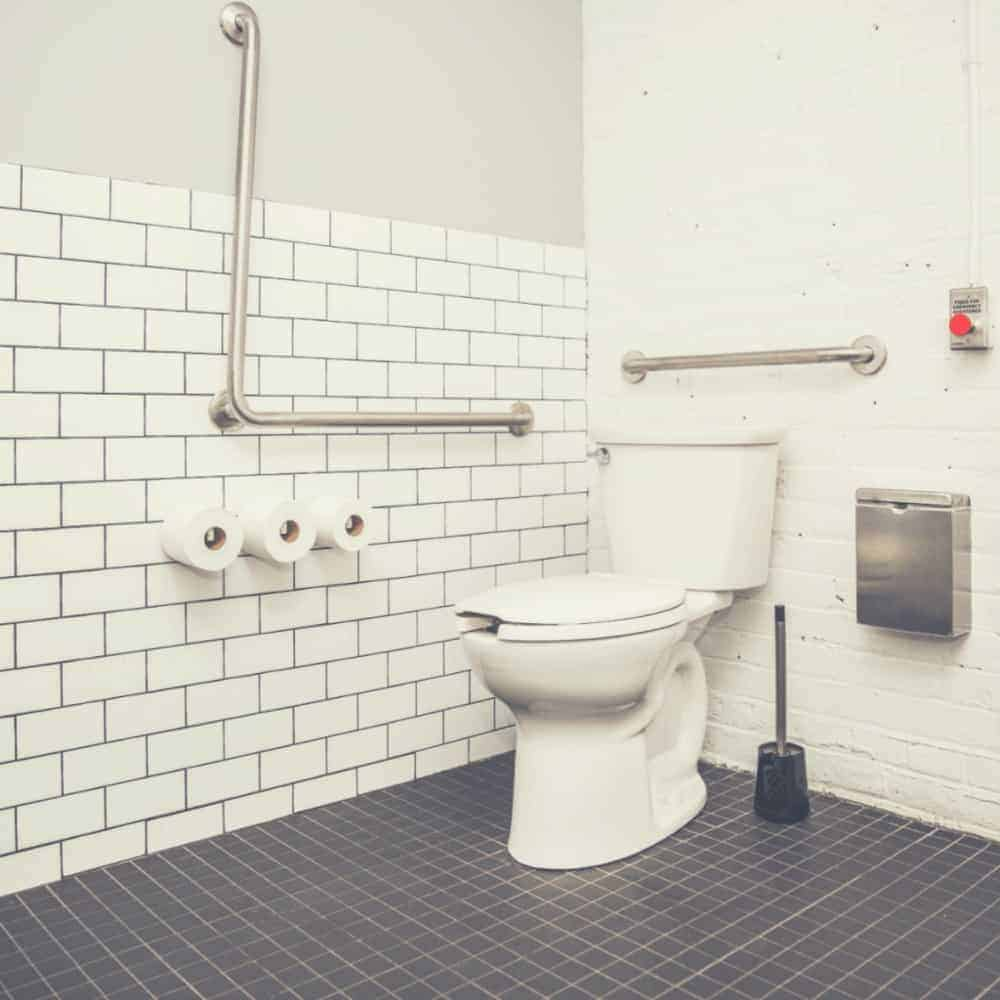 White Bathroom with Small Toilet